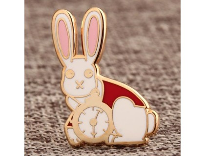 Rabbit Clock Enamel Pins